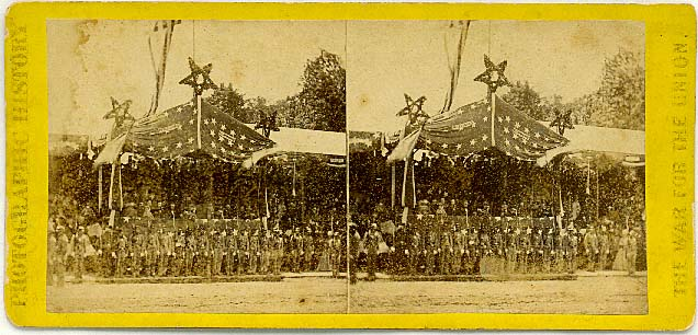 3330 The Stand in front of the President's House occupied by the President [Andrew Johnson] and Cabinet [including Sec. of War Edwin M. Stanton], Grant and Sherman, and Reviewing Officers.jpg (68861 bytes)